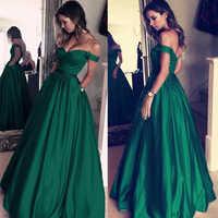 Simple A-line Prom Dresses With Pocket Off The Shoulder Long Formal Party Dress Dark Green Cheap Vestido De Fiesta De Graduacion