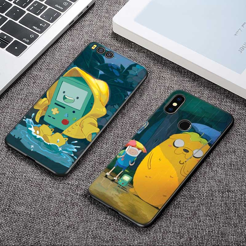 For Xiaomi 6 8 A1 A2 Redmi Note S2 4 4X 5 5A 6 6A Pro Lite Black Silicon Phone Case Adventure Time Style in Fitted Cases from Cellphones Telecommunications