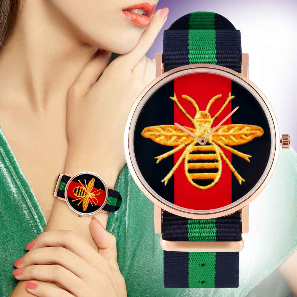Portable Nylon Strap Watch For Women Classic Wasp Pattern Dial Watches For Girls Fashion Quartz Analog Wristwatch For Ladies