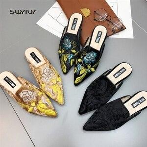 Image 5 - SWYIVY 여성 플랫 Muler Shoes Embriodery 2018 여성 캐주얼 신발 골드 벨벳 빈티지 플라워 레이디 하프 슬리퍼 41 Plus Size