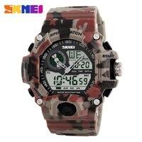 SKMEI Brand Men Sports Watches Dual Display Analog Digital LED Electronic Quartz Watches 50M Waterproof Swimming
