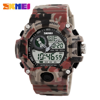 SKMEI Double Time Chronograph Digital Sport watches Men Camo Military Men Watch 50M Waterproof Wristwatch Army Camouflage 1029