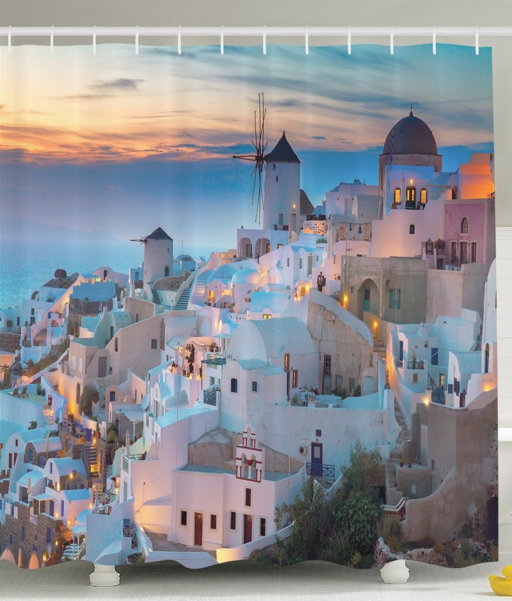 Shower Curtain Greek Aegean Sea Scenic Blue White Orange Printing Waterproof Mildewproof Polyester Fabric Bath Curtain Set
