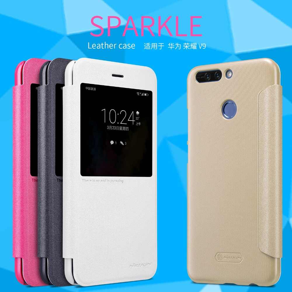 "Huawei honor 8 pro case Smart cover 5.7"" Nillkin sparkle PU leather case for Huawei honor 8 pro honor v9 Auto sleep View windows"