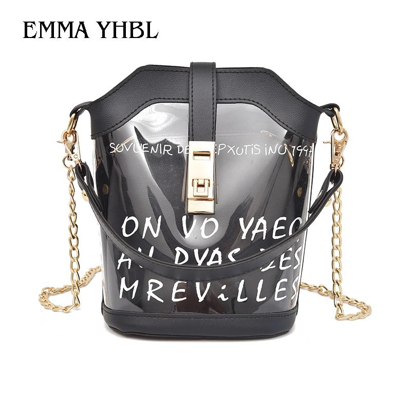 EMMA YHBL  New Korean transparent jelly handbag 2019 summer fashion chain hand bill of lading shoulder slung bucket bag