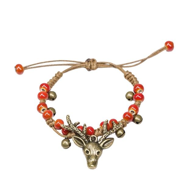Adjustable Vintage Bohemian Deer Antler Pendant Bracelet Handmade Ceramic Porcelain Beads Wristband for Women Girls (Red)