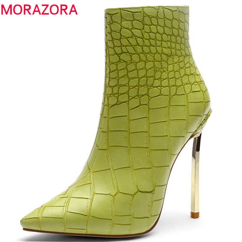 MORAZORA 2018 top quality womens ankle boots simple zip Super heel boots pointed toe spring autumn boots fashion party shoesMORAZORA 2018 top quality womens ankle boots simple zip Super heel boots pointed toe spring autumn boots fashion party shoes