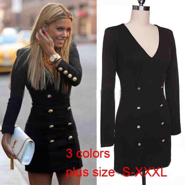 Плюс Размер Женщин Двубортный Пиджак Моды Случайные Глубокий V Тонкий Верхней Одежды Женщин Осень Зима С Длинными Рукавами Пальто Куртки