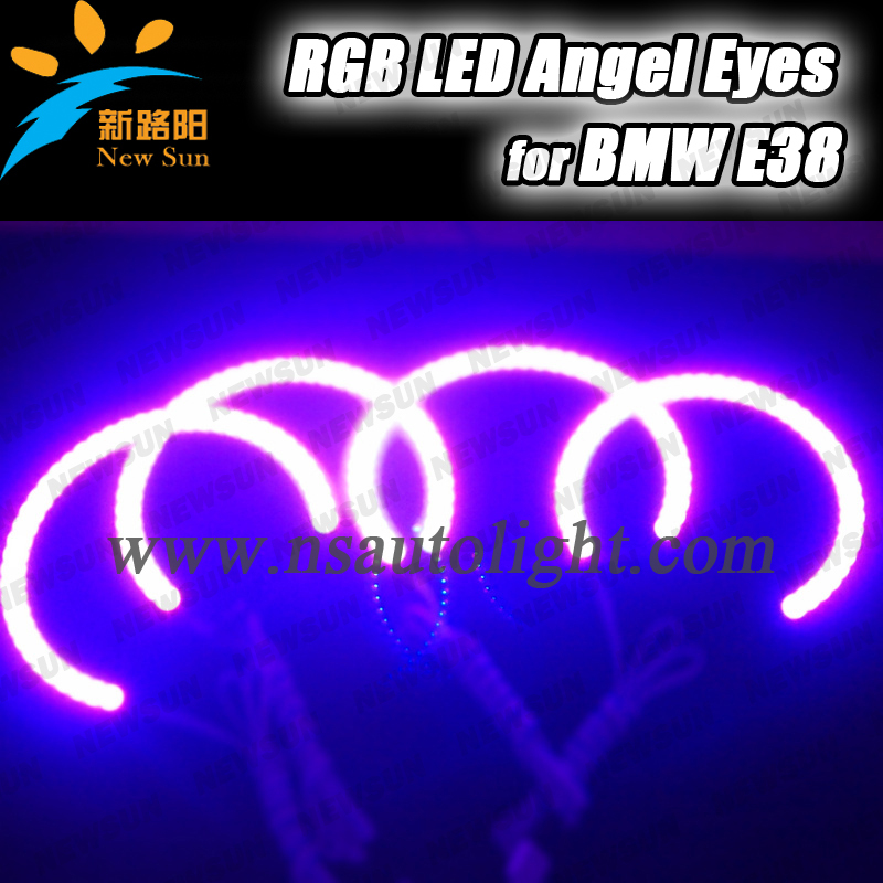 ФОТО OEM fit 4x131mm E36 E38 E39 E46 RGB led angel eyes multi colorful smd ring angel eyes 5050 chip headlamp for bmw