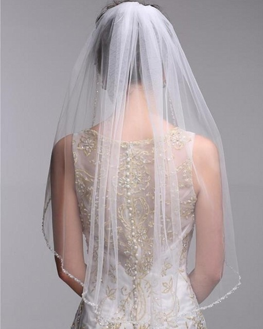 Cheap 2017 Bridal Veils Beaded Edge Tulle Wedding One Layer White Ivory Veil