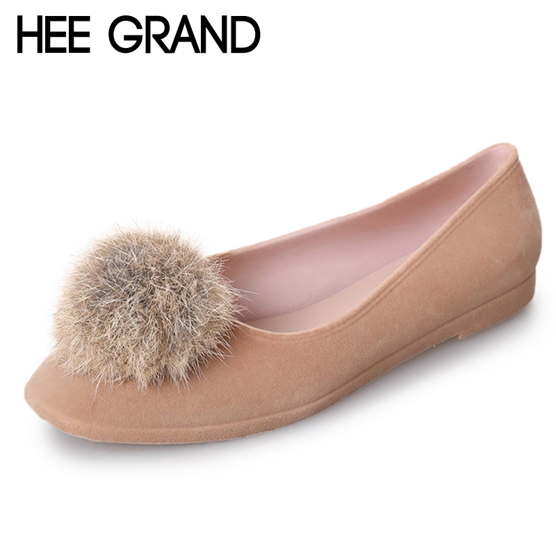 HEE GRAND Shallow Ballet Flats 2018 New Poms Loafers Casual Shoes Woman Slip On Flock Comfort Women Flats Women Shoes XWD6350 2018 new genuine leather flat shoes woman ballet flats loafers cowhide flexible spring casual shoes women flats women shoes k726