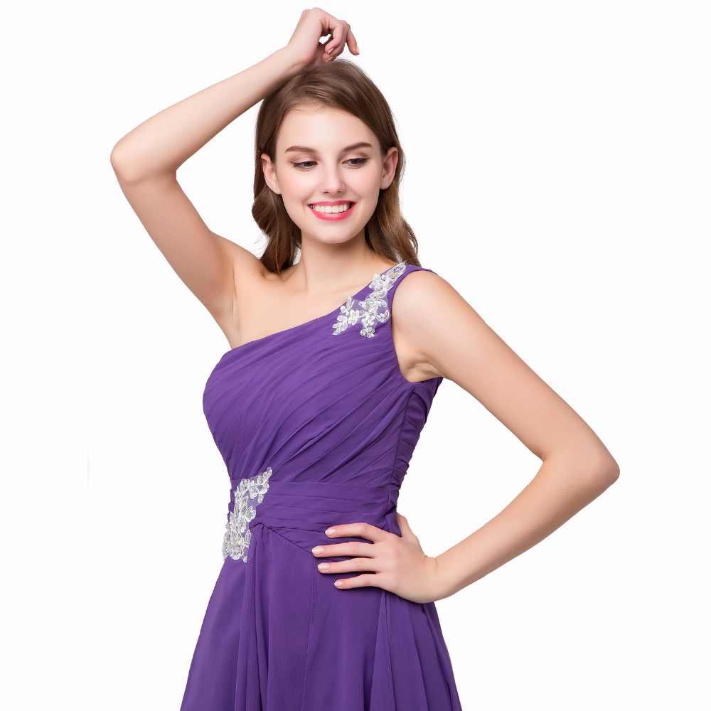 2020 Perdita di Vendita di Alta Bassa Del Vestito Delle Donne di Stile di Estate Una Spalla di Applique Formale Abiti in Chiffon a Buon Mercato Abito da Sera Vestido Mujer