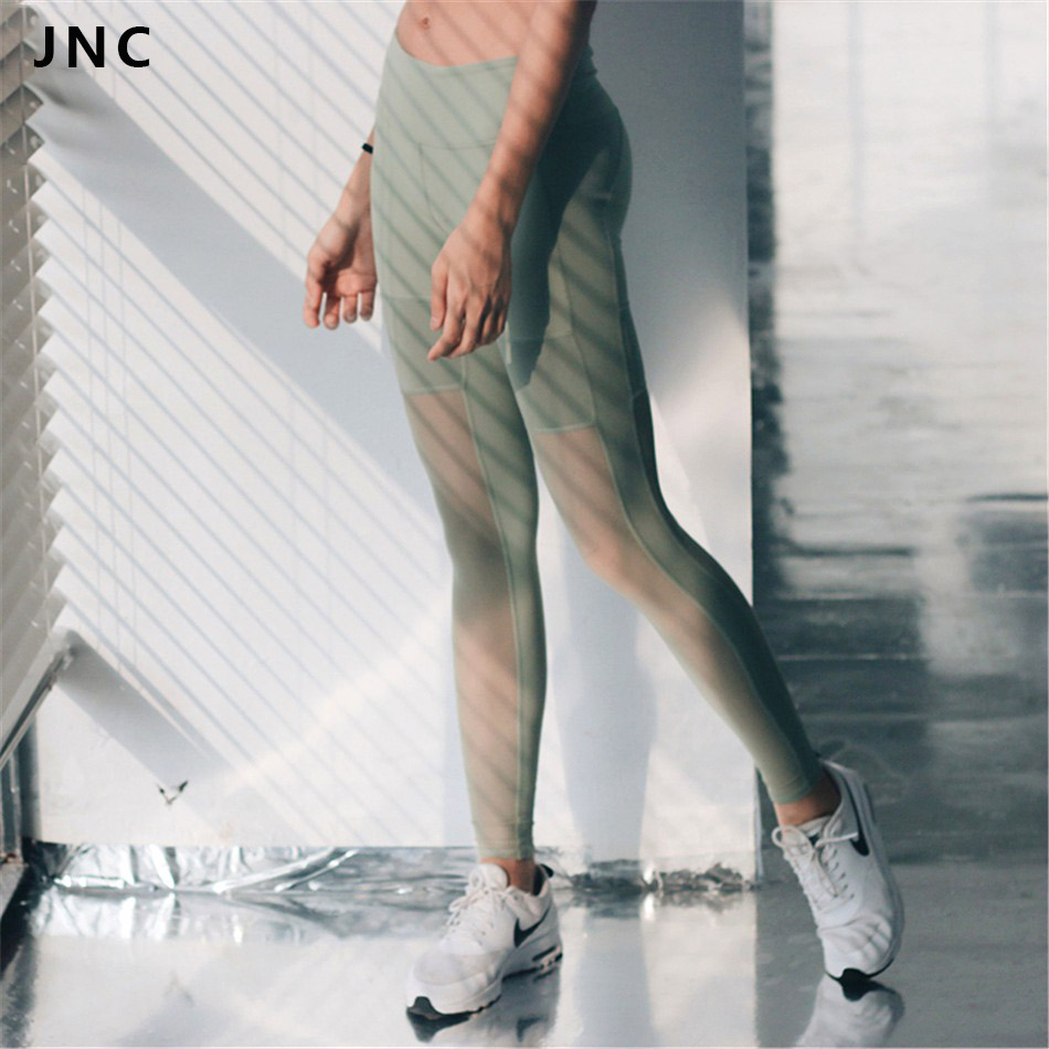 Prix pour JNC Haute Qualité Olive Vert Sport Leggings Avec Côté Mesh Cut Out Yoga Pantalon Taille Haute Respirer Facile Maille Pantalon pour les Femmes 024
