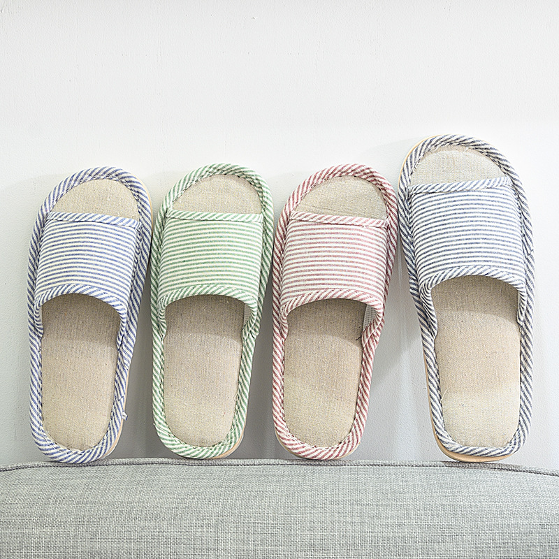 Four Seasons EVA Home Slippers For Women And Men Floor Cotton Flax Slippers With Soft Bottom