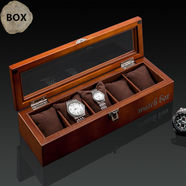 Top 5 Grids Display Watch Box Black Wood Watch Storage Box With Lock  Fashion Wooden Watch