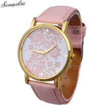 Ladies Trend Watches Spherical Lace Printed Fake Leather-based Girl Clock Quartz Analog Costume Wrist Watch wholesale