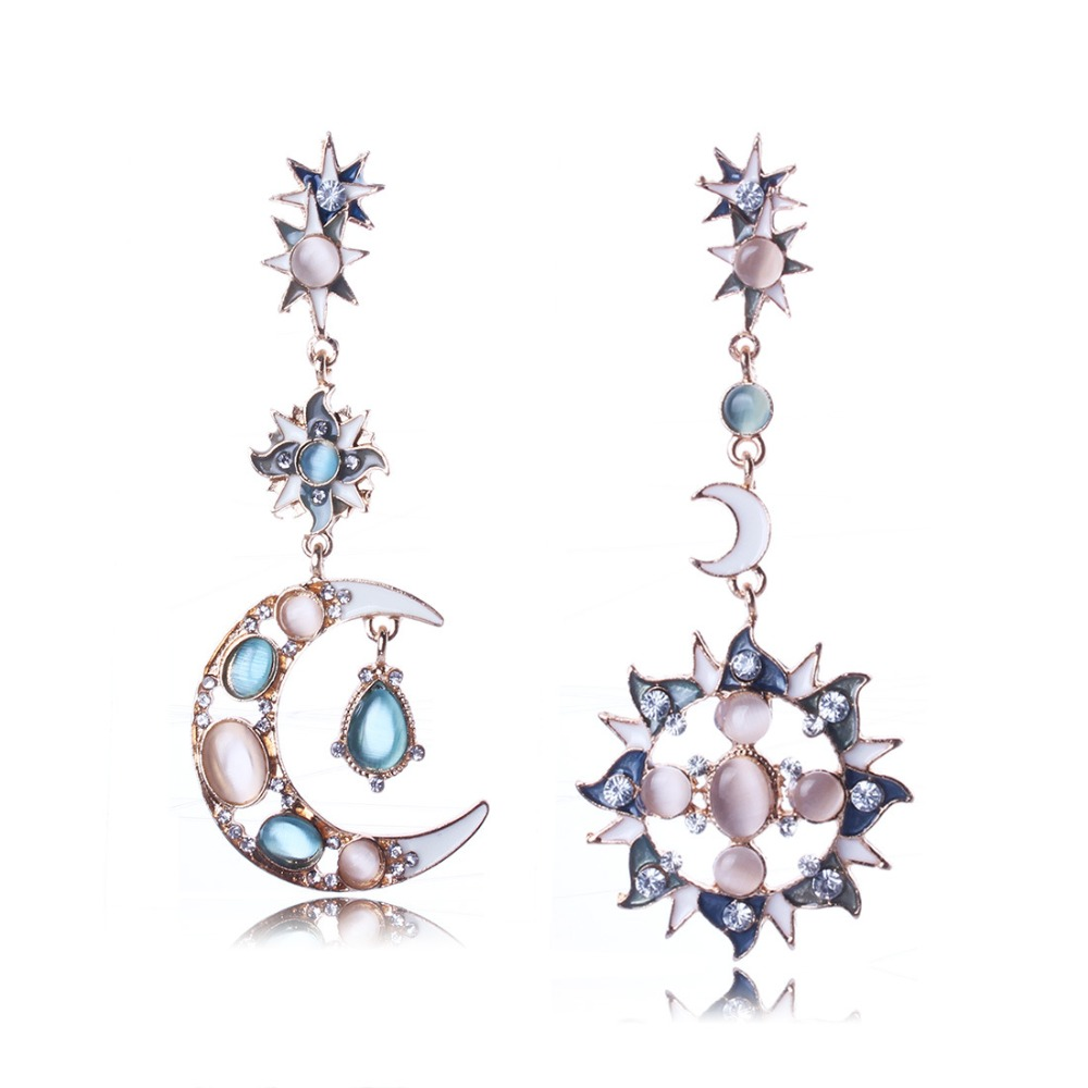 Hot Sell Retro Earrings Sun Moon Asymmetricbination Type Of Earrings(china  (mainland)