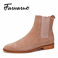 Farvarwo Mens Dress Boots Winte Casual Genuine Leather Chelsea Boots Men Ankle Suede Kanye West Formal