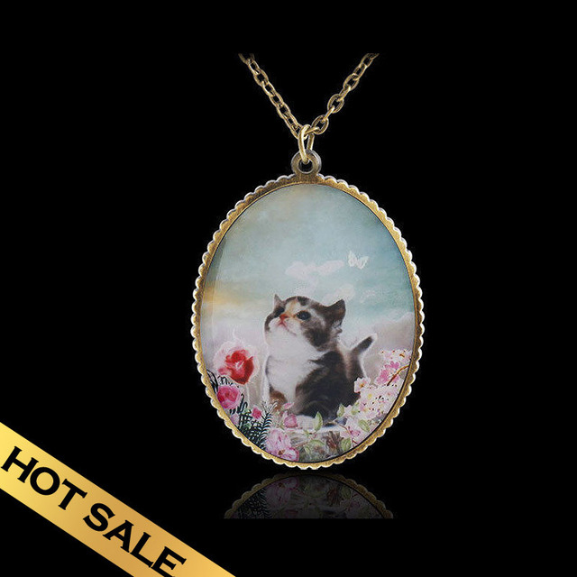 Special Chain Necklaces Handmade Enamel Bronze Classic Vintage Design Cats Pendant Free Shipping Jewelry XLG9E04