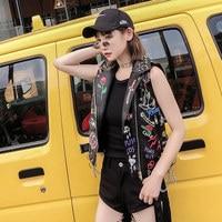 Individual Graffiti Printing Locomotive Leather Vest Women Rivet Collar Sleeveless Waistcoat Punk Style Slim Vest