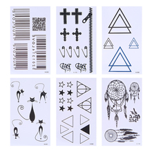 Men Women Waterproof Temporary Tattoos Totem Cross Cat Body Art Fake Stickers