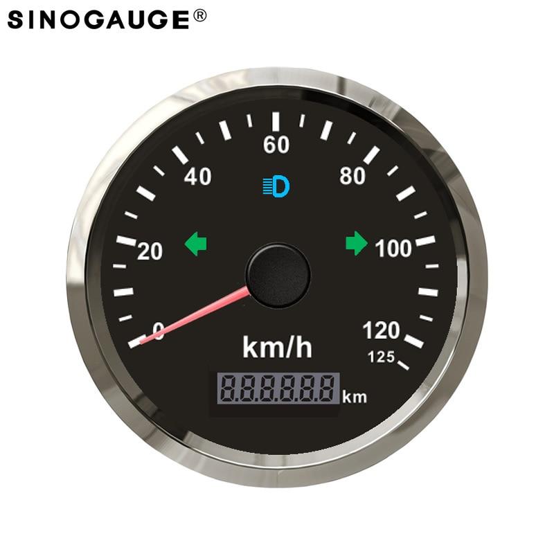 85mm GPS Compteur De Vitesse 125 km/h 125kph preuve de L'eau IP67 Noir Panneau En Acier Inoxydable Lunette pour moto voiture bateau camion