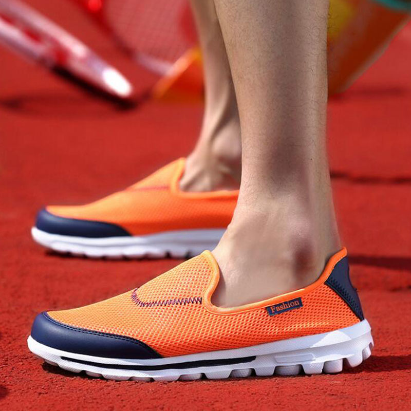 Tangnest 2017 NEW Mesh Shoes Men Breathable Slip-on Light Flats Shoes For Lovers Platform Loafers Casual Driving Shoes