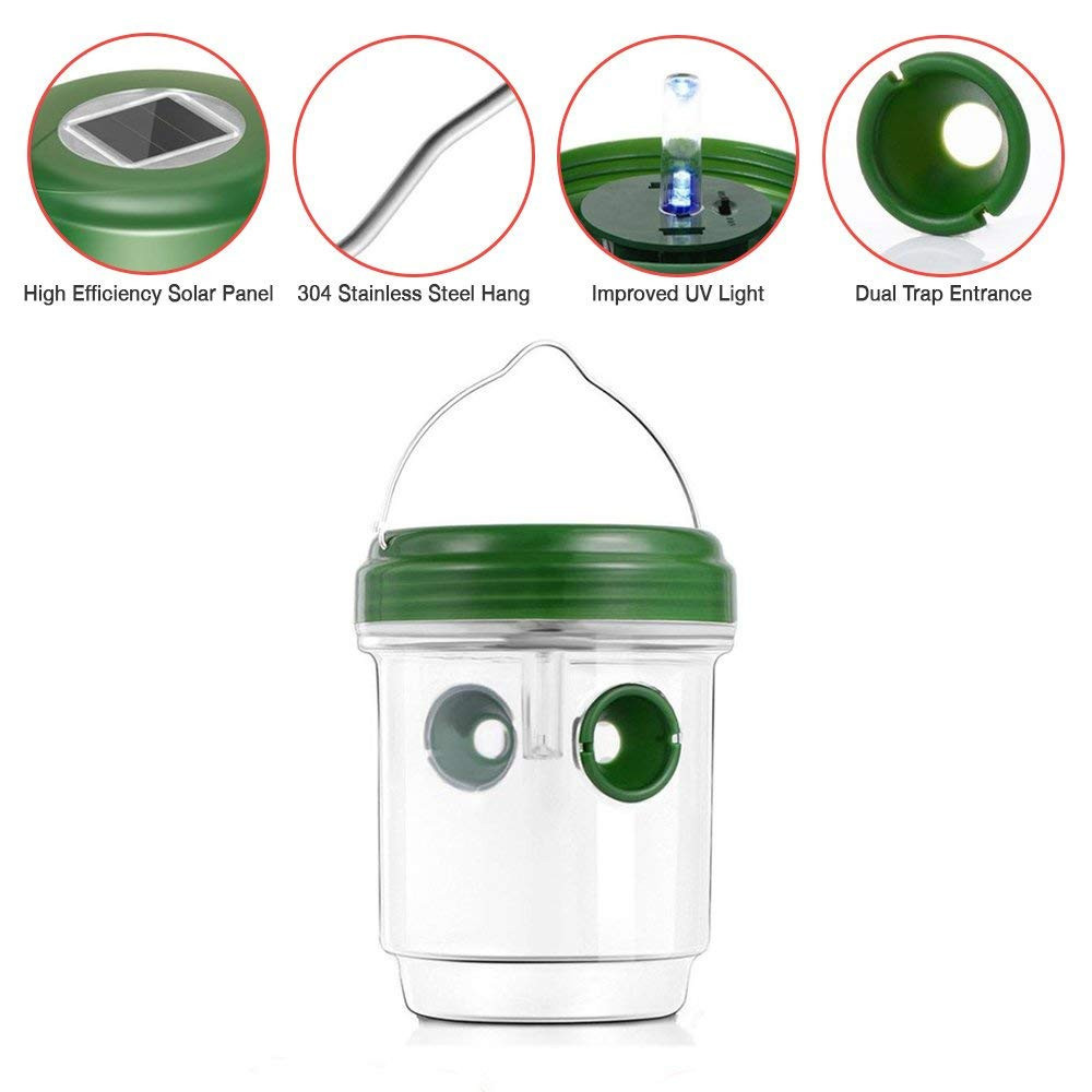 Image 3 - 4 Pcs Wasp Trap Catcher Life Outdoor Solar Powered Trap With Ultraviolet LED convenient and  practical Household HOT Sale-in Traps from Home & Garden
