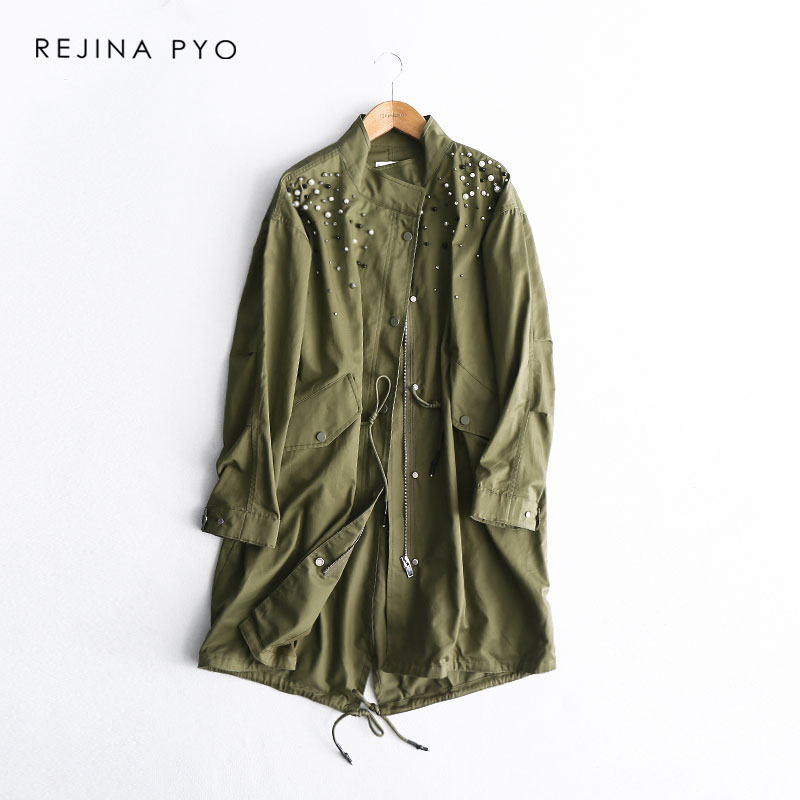 REJINAPYO Women Chic Washing Green Cotton Long   Trench   Coat Handmade Beading Casual High Street Single Breasted Outerwear
