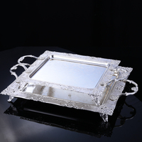 fashion rectangle silver metal serving tray decorative fruit with handle cutlery drainer decorative trays for cake disply FT018