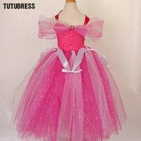 Hot Pink Girls Cosplay Princess Tutu Dress Children Flower Girl Dresses Tulle Kids Girl Halloween Birthday