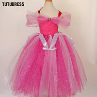 Hot Pink Girls Cosplay Princess Tutu Dress Children Flower Girl Dresses Tulle Kids Girl Halloween Birthday