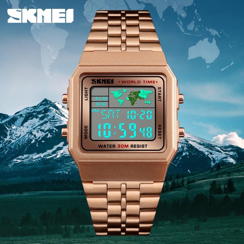 SKMEI Luxury Brand Male Watch Digital Electronic Sports Watches Countdown Stopwatch Waterproof Men Wrist Watch Relogio Masculino цена и фото