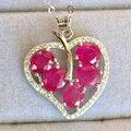 100% натуральный рубин ожерелье кулон 1.5 карат кроваво-красный натуральный рубин твердые 925 серебро драгоценный кулон в форме сердца рубиновый кулон