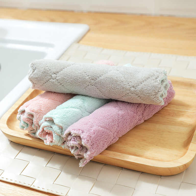 1 pc סופר סופג מיקרופייבר מטבח צלחת בד גבוהה-יעילות כלי שולחן ביתי ניקוי מגבת מטבח כלים גאדג 'טים