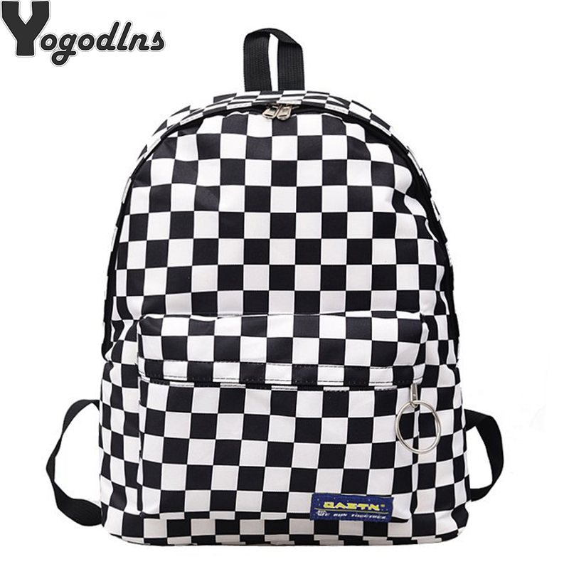 Lattice Backpack Student Water Repellen Nylon Backpack women Escolar Mochila Quality Brand Laptop Bag School Plaid Backpack