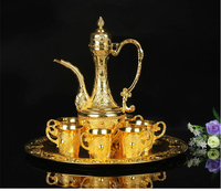 8 pcs / Set. metal gold plated embossed wine bar kitchen drink ware set 6 cups 1 jar 1 tray wedding events deco hotel