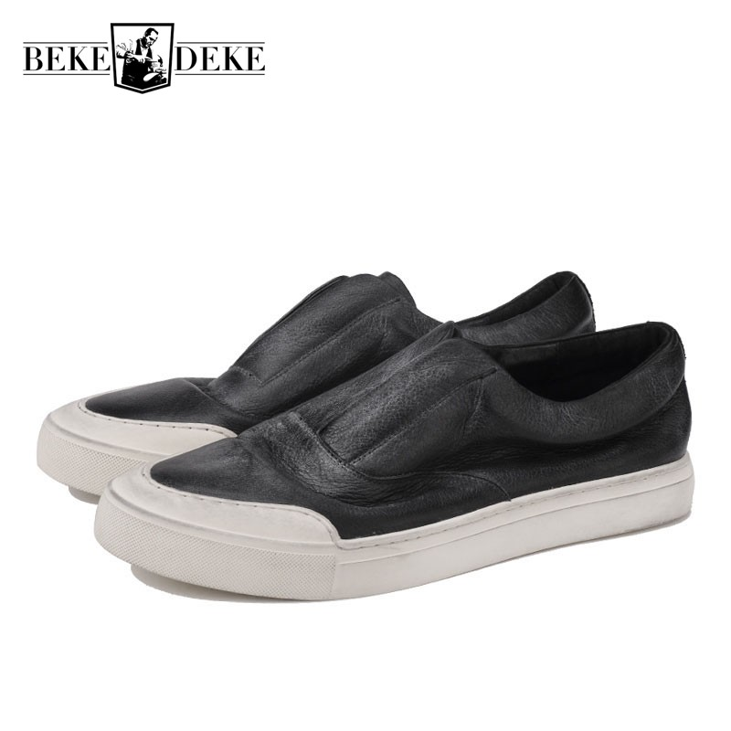 Men Casual Retro Do Old Shoes Spring Summer Slip On Loafers Brand Genuine Leather Sneakers Male Sapato Masculino Flat Footwear 2018 genuine leather men s vulcanized shoes black white mans footwear flats sneakers casual shoes sapato masculino