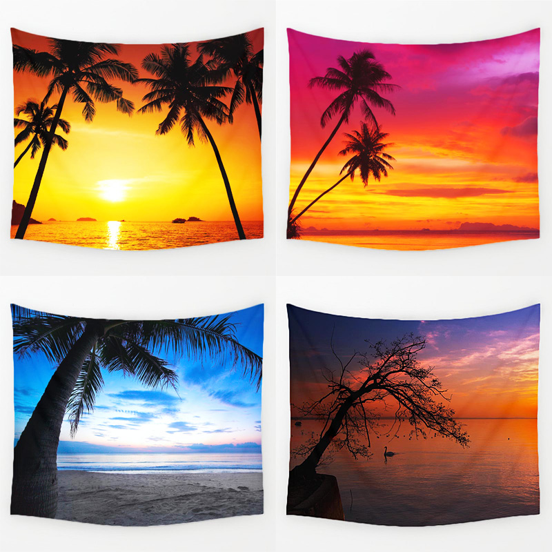 Comwarm Cozy Sunset Coastal Natural Scenery Wall Hanging Gobelin Mural Coconut Tree Printed Polyester Tapestry Bedroom Decor Art