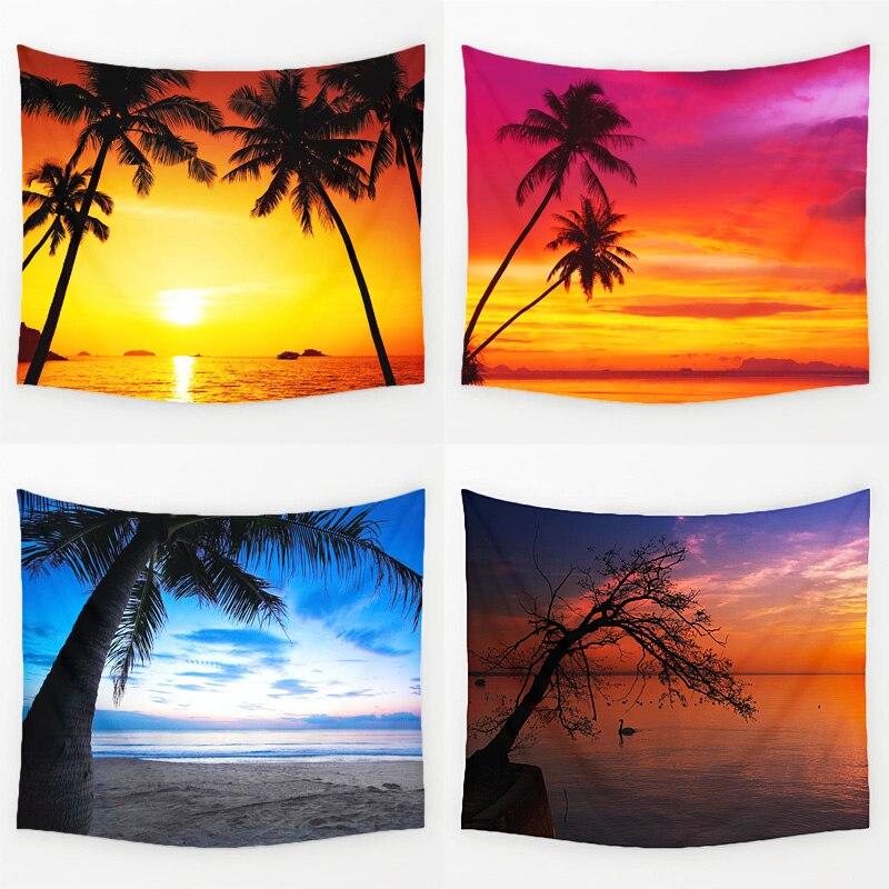 Comwarm Gemütliche Sunset Küsten Natürliche Landschaft Wandbehang Gobelin Wandbild Coconut Baum Gedruckt Polyester Tapisserie Schlafzimmer Decor Kunst