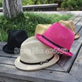 Unisex Casual summer straw fedora sombreros para hombre chapeu masculino gángster mujeres Jazz trilby caps envío gratis femenino