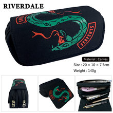 Riverdale South Side Serpents Pen Bags double layer canvas zipper school pencil case stationery box Makeup Case Coin purse(China)