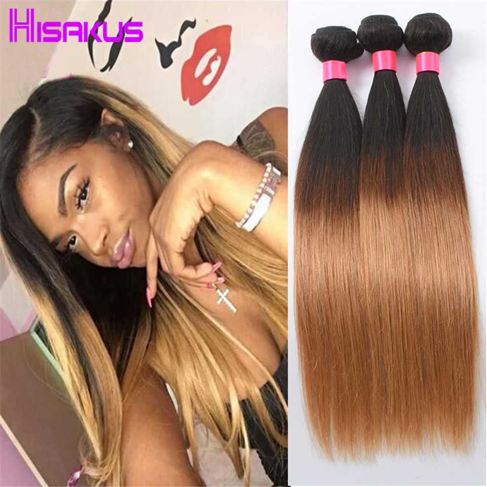 Straight Peruvian Virgin Hair Straight Ombre Human Hair Blonde 3 Bundle Deals 7a Unprocessed Virgin Hair Wet And Wavy Weave1B/27