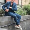 2016 Venda Quente de Verão Terno Azul 2 Peças Jaqueta + Calça Botões Manguito Traje Homme Único Breasted Slim Fit Casamento ternos Para Homens