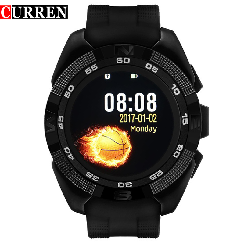 NEW CURREN X4 Smart phone watch Heart Rate Step counter <font><b>Stopwatch</b></font> Ultra thin Bluetooth Wearable Devices Sport For IOS Android