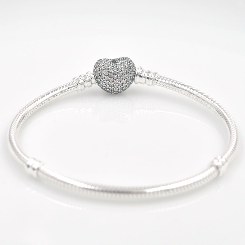Charmlead 925 Sterling Silver Snake Bracelet Pave CZ Stone Heart Clasp Jewelry Fit Europe Charms DIY