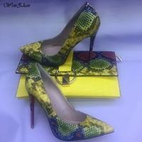 WENZHAN Лидер продаж обувь на высоком каблуке со змеиным принтом Кожа 12 см женская обувь насосы с соответствующими клатч Комплекты 36-42 811-4