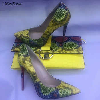 WENZHAN Hot Selling High Heel shoes Snake Printed Leather 12cm women shoes pumps With Matching Clutch Bags Sets 36-42 811-4 - DISCOUNT ITEM  24% OFF All Category