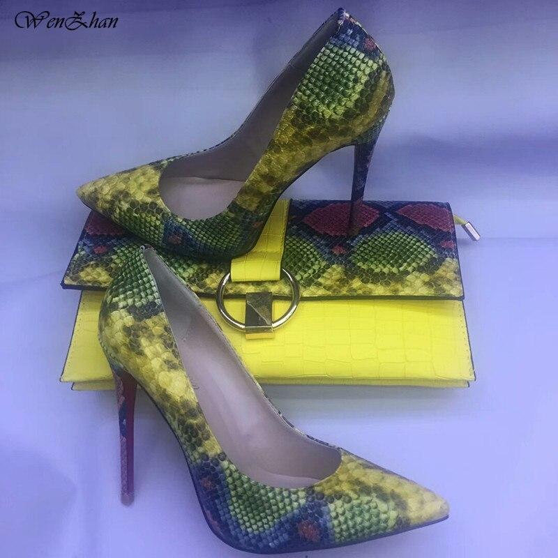 WENZHAN vente chaude chaussures à talons hauts serpent imprimé en cuir 12 cm femmes chaussures pompes avec des pochettes assorties ensembles 36-42 811-4
