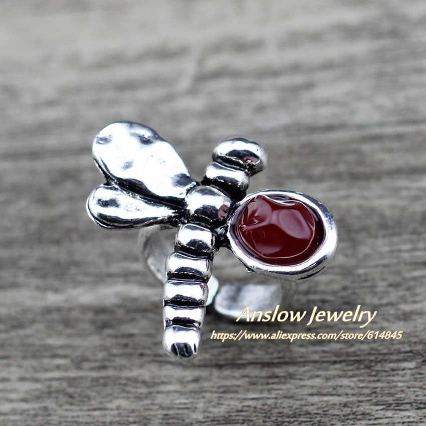 Anslow 2019 ร้อนขายส่ง VINTAGE Retro DRAGONFLY แหวนสำหรับสุภาพสตรีหญิงออกแบบใหม่เครื่องประดับของขวัญ LOW0020AR